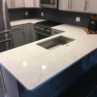 Opal Marquette Polarstone Quartz Kitchen Countertops