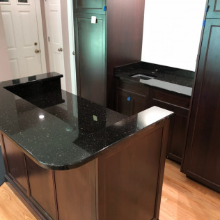 Black Galaxy Granite Bar Area