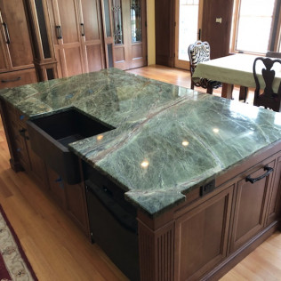 Green Rainforest Marble Kitchen Island