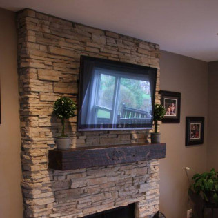 Ledgestone Veneer and Buff Limestone Hearth