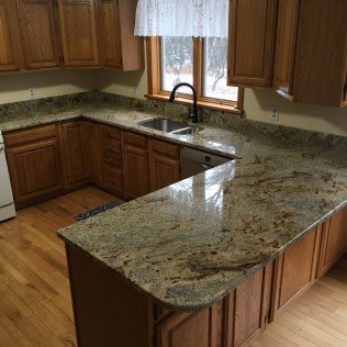 Golden Crystal Granite Kitchen